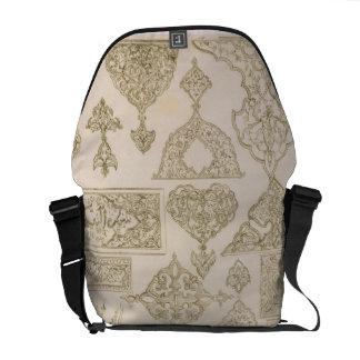 Details of ornamentation for arms, borders, manusc messenger bag