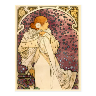 Detalle a la señora del arte Nouveau de las cameli Tarjetas Postales