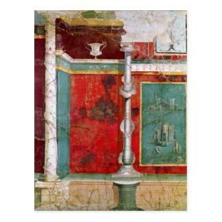 Detalle arquitectónico con un paisaje postal
