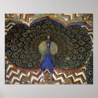 Detalle arquitectónico de la puerta del pavo real póster