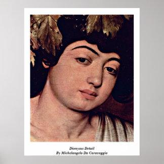 Detalle de Dionysus de Miguel Ángel DA Caravaggio Poster