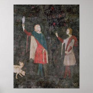 Detalle de dos halconeros, del cuarto del macho póster