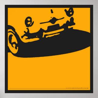 Detalle de Fiat 600 - amarillo en negro Posters