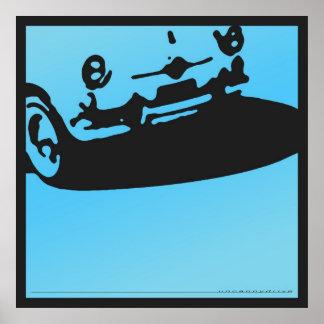 Detalle de Fiat 600 - azul claro en negro Posters