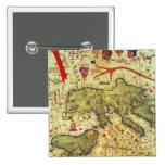 Detalle de la África del Norte y de Europa Pin Cuadrado
