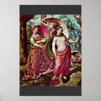 Detalle de la alegoría de Meister Von Alcira (el m Poster