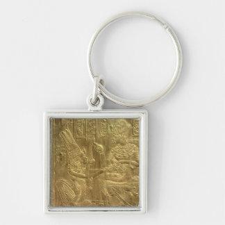 Detalle de la capilla de oro llavero cuadrado plateado