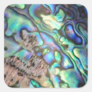 Detalle de la cáscara del olmo del paua del verde calcomanías cuadradas personalizadas