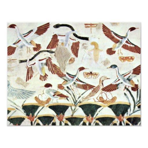 Detalle de la caza del pájaro por el Na del DES de Invitación 10,8 X 13,9 Cm