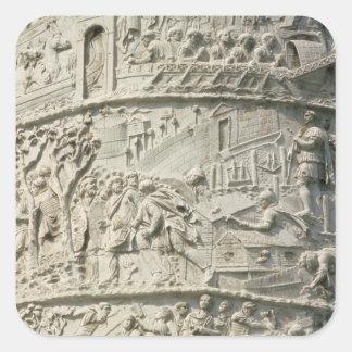 Detalle de la columna de Trajan Pegatina Cuadrada