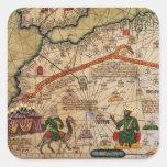 Detalle de la copia de un mapa catalán de Europa Pegatina Cuadrada