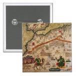 Detalle de la copia de un mapa catalán de Europa Pin Cuadrado