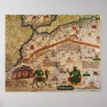 Detalle de la copia de un mapa catalán de Europa Póster