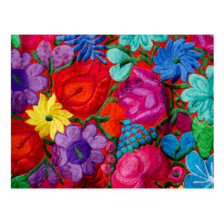 Detalle de la materia textil floral del bordado tarjeta postal