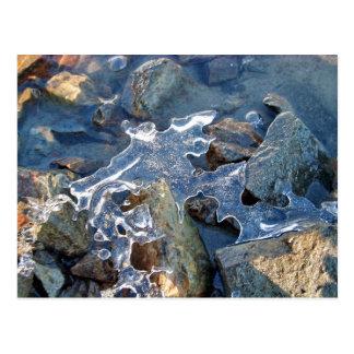 Detalle de la orilla del río congelada, hielo, pie postal