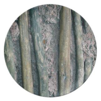 detalle de la pared del fango y del zarzo plato para fiesta