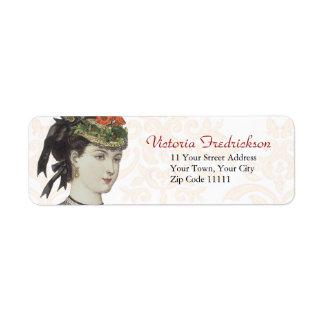 Detalle de la placa de moda del Victorian - señora Etiqueta De Remite