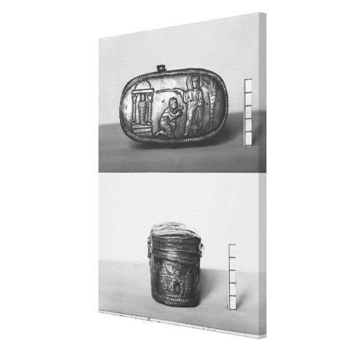 Detalle de la tapa de un pyxide lienzo envuelto para galerías