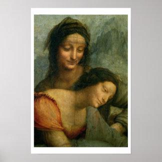 Detalle de la Virgen y del St Anne de la Virgen Póster