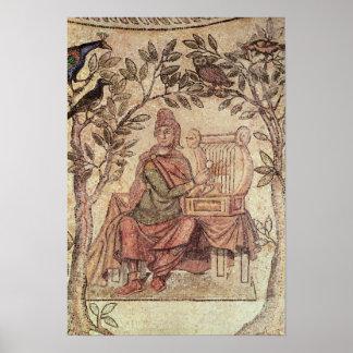 Detalle de Orfeo que encanta los animales Póster