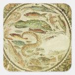 Detalle de pescados, las cuatro estaciones, de pegatina cuadrada