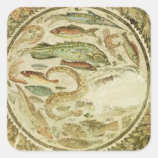 Detalle de pescados las cuatro estaciones de Veg Calcomanías Cuadradass