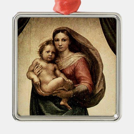 """Detalle de Raphael """"Sistine Madonna"""" (circa 1513) Adorno Navideño Cuadrado De Metal"""