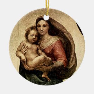 Detalle de Raphael Sistine Madonna circa 1513 Ornaments Para Arbol De Navidad