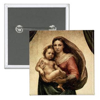 "Detalle de Raphael ""Sistine Madonna"" (circa 1513) Pin Cuadrada 5 Cm"