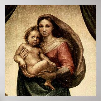 "Detalle de Raphael ""Sistine Madonna"" (circa 1513) Póster"