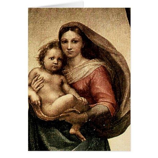 """Detalle de Raphael """"Sistine Madonna"""" (circa 1513) Tarjetas"""