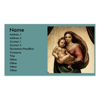 """Detalle de Raphael """"Sistine Madonna"""" (circa 1513) Plantillas De Tarjetas De Visita"""