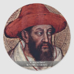 Detalle de St Jerome de Gentile da Fabriano Etiqueta Redonda