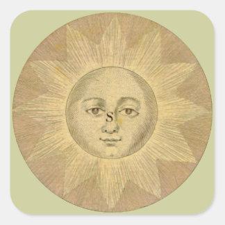 Detalle de Sun del mapa antiguo de Bowles circa 1 Calcomanía Cuadrada Personalizada