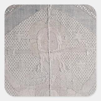 Detalle de un altarcloth con Cristo de Pegatina Cuadrada