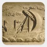 Detalle de un buque de guerra veneciano pegatina cuadrada