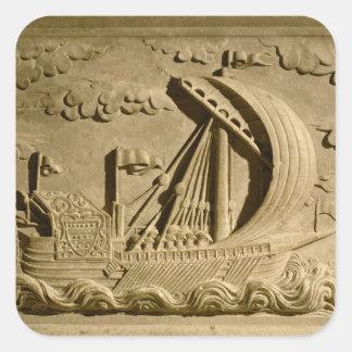 Detalle de un buque de guerra veneciano calcomania cuadradas personalizada