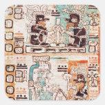 Detalle de un códice maya calcomanías cuadradas