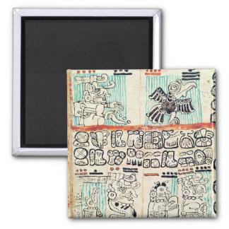 Detalle de un códice maya imán cuadrado