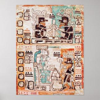 Detalle de un códice maya posters