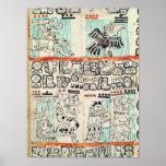 Detalle de un códice maya póster