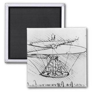 Detalle de un diseño para una máquina de vuelo, c. imán cuadrado