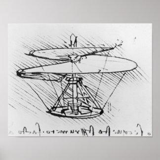 Detalle de un diseño para una máquina de vuelo, c. póster