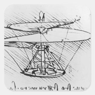 Detalle de un diseño para una máquina de vuelo, calcomanía cuadradas personalizada