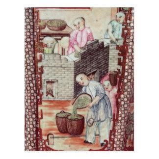 Detalle de un florero que representa té de sequía tarjetas postales