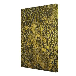 Detalle de un gabinete tailandés impresión en lienzo estirada