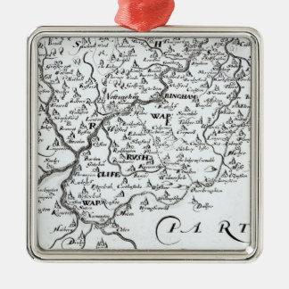 Detalle de un mapa del condado de adorno navideño cuadrado de metal