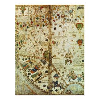 Detalle de un mapa del mundo catalán postal