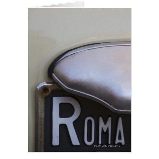 detalle de un número de matrícula de Roma en un pe Tarjeta De Felicitación