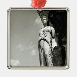 Detalle de una cariátide del Erechtheion Adorno Cuadrado Plateado